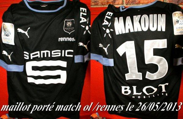 maillot officiel de jean ll makoun porté le 26/05/2013 ol / rennes