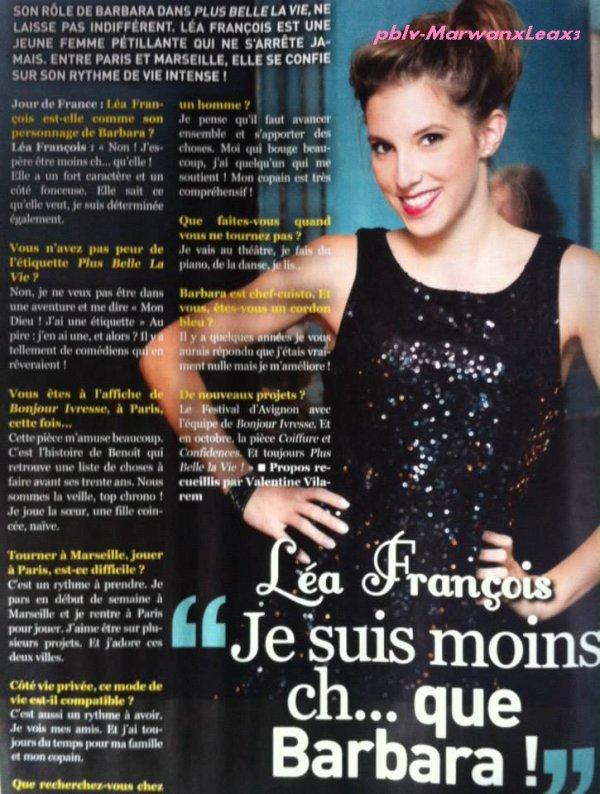 """Léa François Son Interview dans le mensuel """"Jour de France"""" Mars 2014 N°36"""