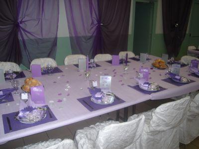 decoration table mariage parme et argent