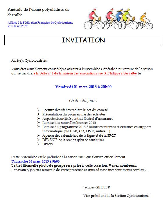 Assemblée Générale d'ouverture de saison  (01/03/13)