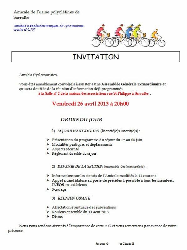 Réunion & A.G. de la Section Cyclotourisme   26.04.13