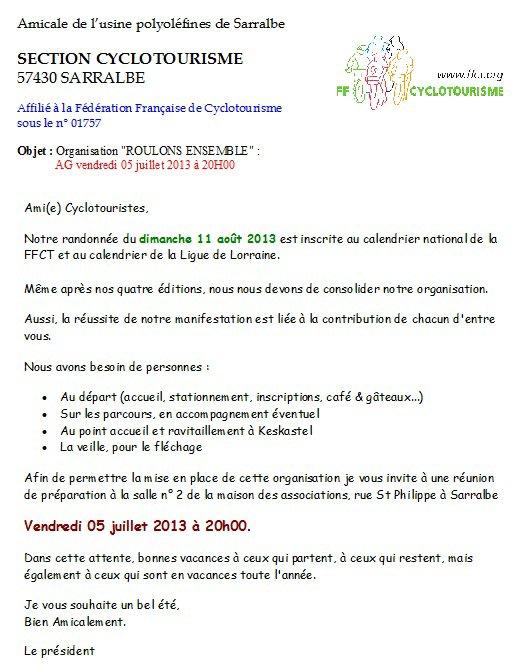 """Assemblée Générale et Préparatifs """"R.E.2013"""""""