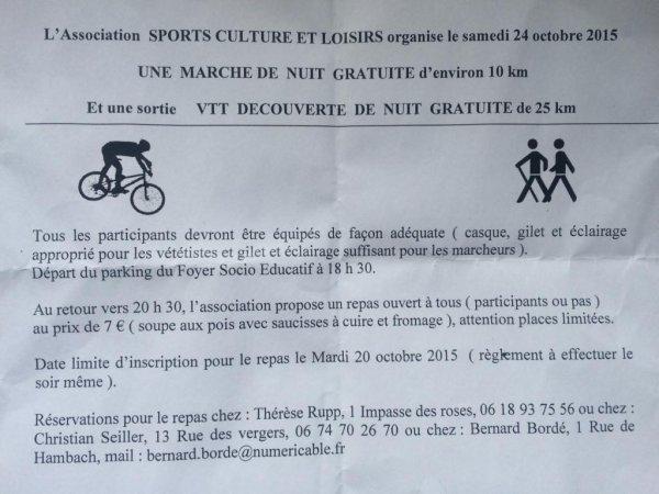 VTT de nuit  à Grundviller 24/10/15