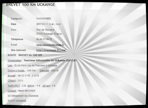 Brevet 100 kms Uckange 11/03/2017