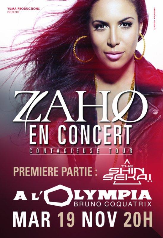 Mardi 19 Novembre , Zaho à l'Olympia !
