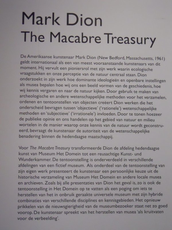 Mark Dion: The Macabre Treasury @ Museum Het Domein Sittard.