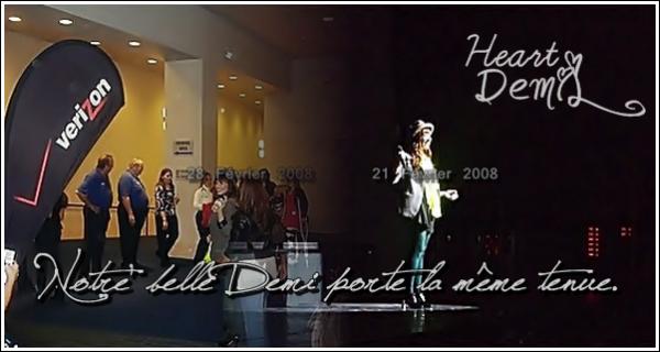 28/02/08: Demi Lovato a été vue dans les Back Stage de l'un des concert du When you look me in the eyes tour des Jonas Brothers dont elle a assuré la première partie à Dallas, au Texas. TOP/BOF/FLOP? Pour moi c'est encore un TOP. Demi est sourriante et ça fait plaisir à voir.