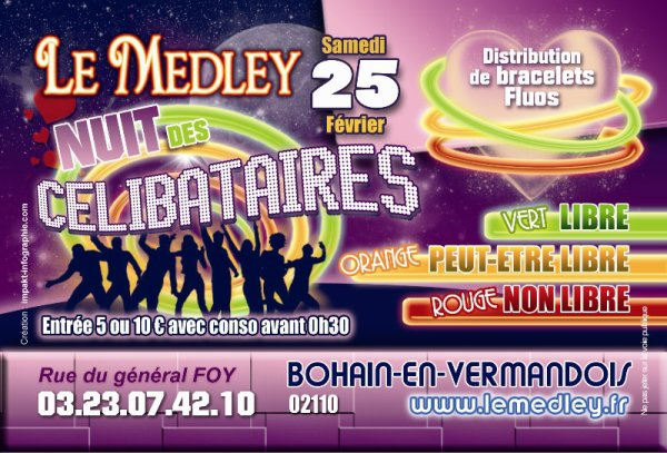 """SAMEDI 25 FEVRIER 2012 - NUIT DES CELIBATAIRES AVEC DJ """"C-BASS"""""""
