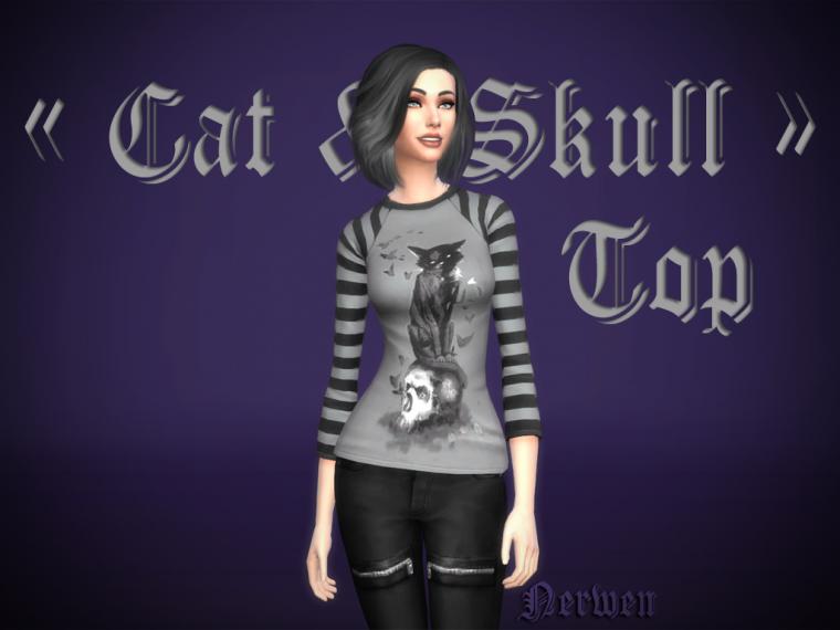 "• Top femme ""Cat & Skull"" •"