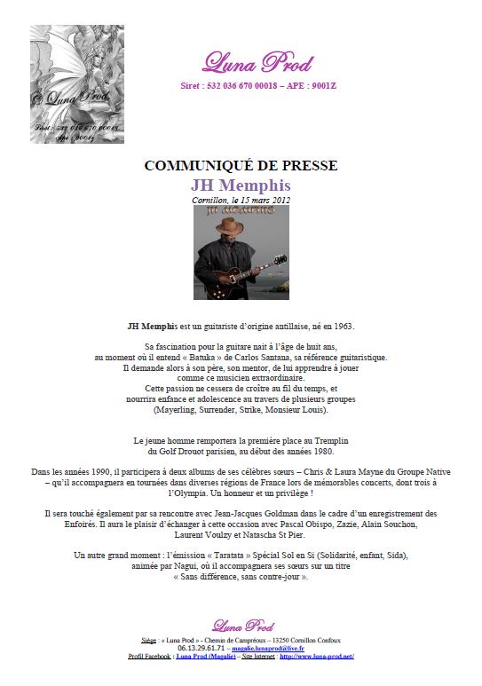 """Communiqué de Presse de """"JH Memphis"""""""