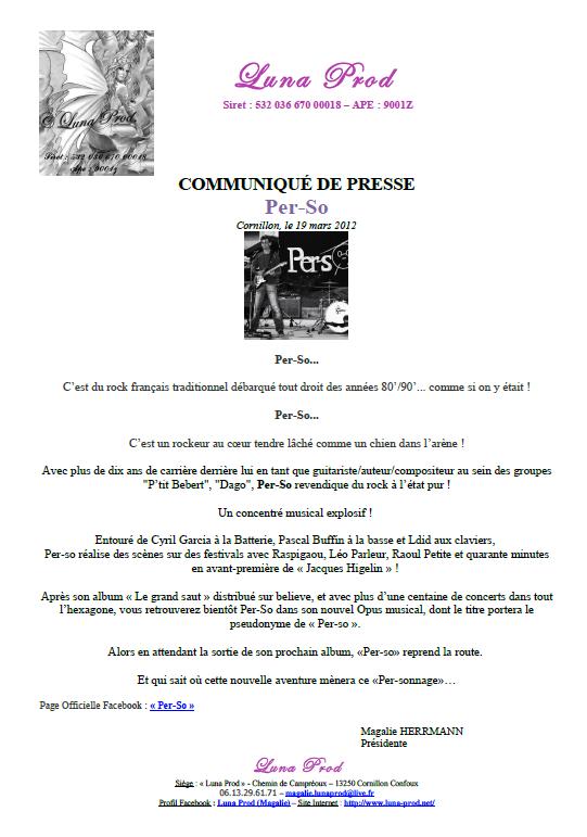 """Communiqué de Presse de """"Per-So"""""""