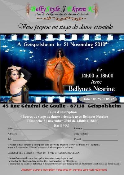 Stage de danse orientale avec Bellysnes Nesrine