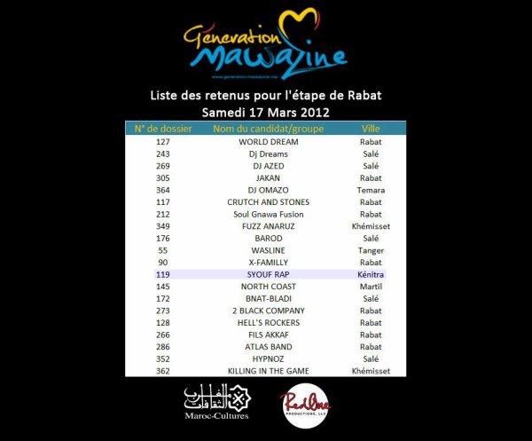 Casting Generation Mawazine L'etape De Rabat 2012