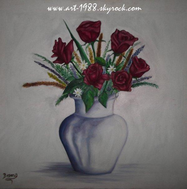 Des roses rouges pour ce beau printemps <3 Huile sur toile