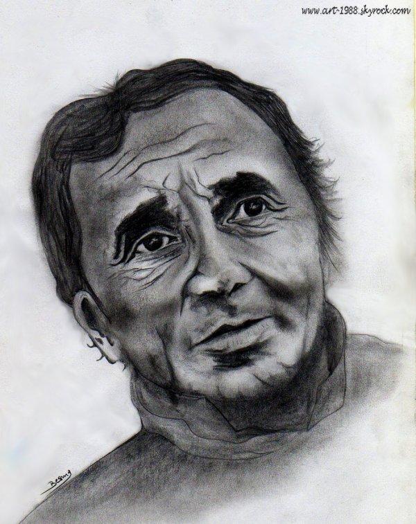 CHARLES AZNAVOUR - Crayon graphite sur Canson