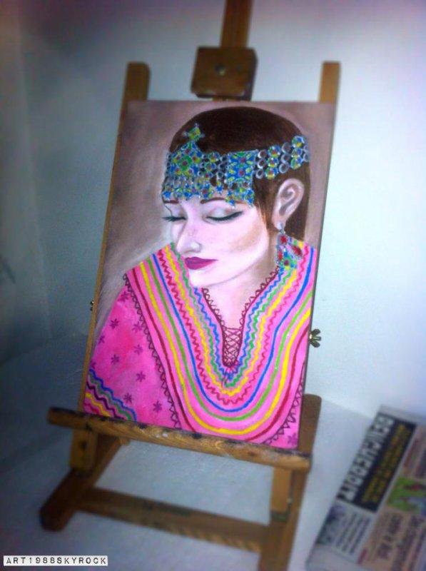 la kabyle rêveuse.... huile sur toile
