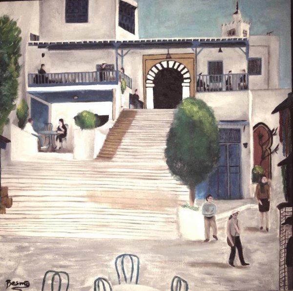 Huile sur toile - café SIDI BOUSAID المقهى العربي تونس