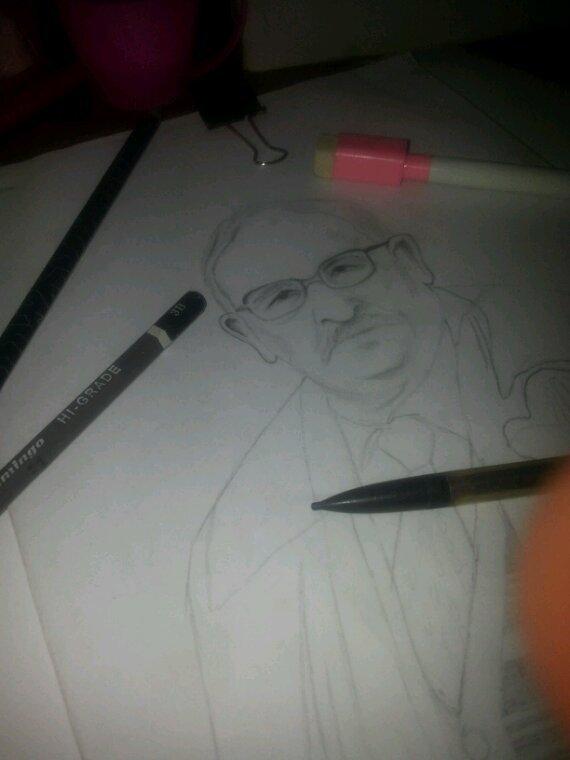 Portrait aux crayons