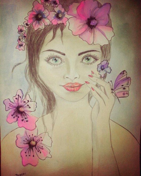Aquarelle.  Pastel. Ancre chinois.  Crayons de couleurs