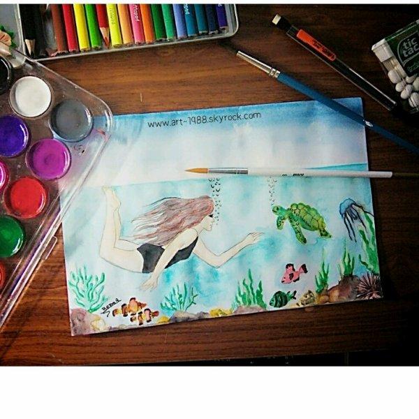 Aquarelle #plongeuse