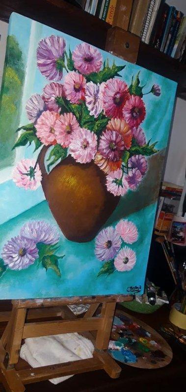 chrysanthèmes - huile sur toile
