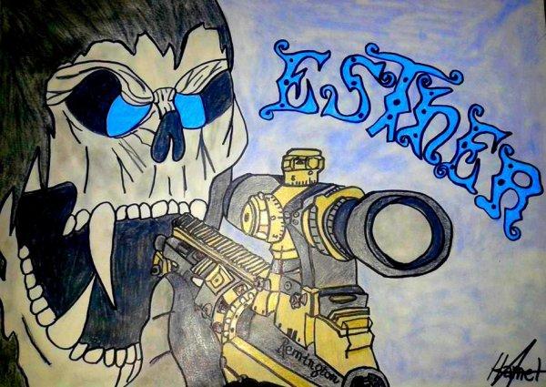 tête de mort + sniper MSR + prenom