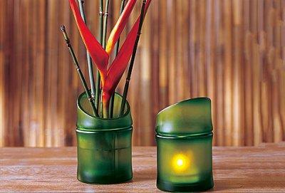 Porte-bougie à réchaud bambou