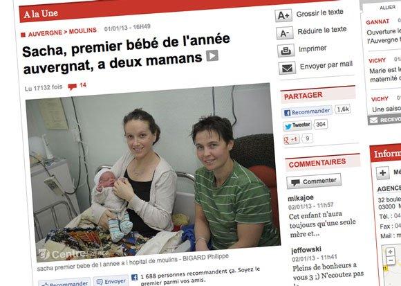 """Deux mamans pour le """"premier bébé 2013 de France"""" !"""