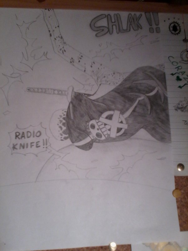 "Trafalgar D water Law : "" Radio Knife """