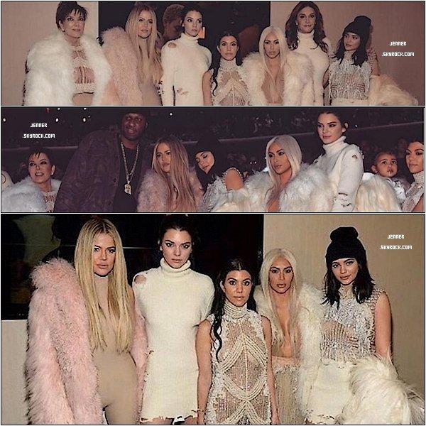 -- 11/02/2016: Kendall Jenner au défilé Yeezy Season 3. Le mannequin de la famille Kardashian se distinguait de ses s½urs dans une jolie robe-pull à col roulé comme rongée par les mites. Pour l'accompagner, des bottes en daim beige serties de perles, proposant un contraste très pointu. Quel look de la famille Kardashian avez-vous préféré ? --