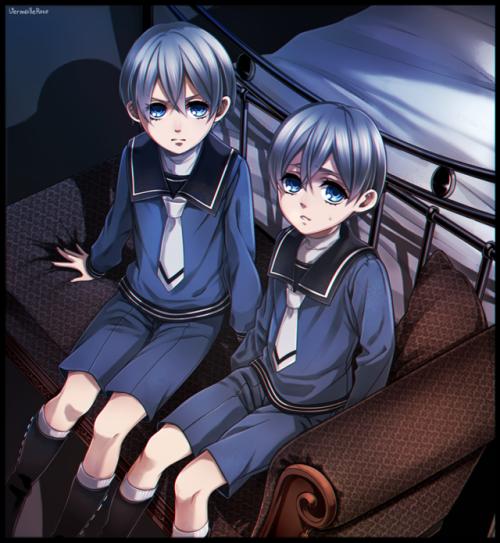 Spoiler Black Butler avait vous vus la lègere différence entre les jumeau phantomhive