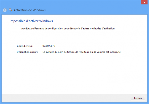 #Windows8 Error 0x8007007B