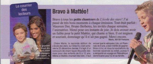 """Presse : Mattéo dans le n°3307 de l'hebdomadaire """"France Dimanche"""" !"""