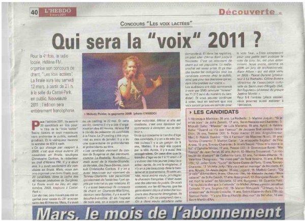 """""""Les Voix Lactées"""" dans l'Hebdo de Charente-Maritime du 3 mars 2011"""