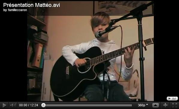 Nouvelle vidéo de Mattéo - 2 Chansons vocales + Medley guitare/voix