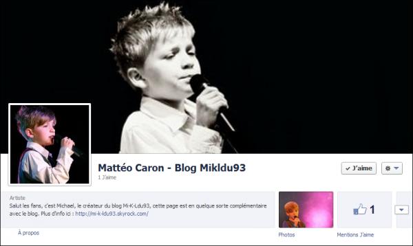 Page Facebook concernant Mattéo et le blog !!