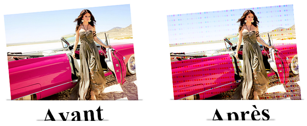 Effet pixels colorés