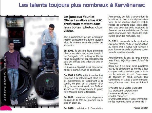 """KSC Production dans """"Le p'tit journal de Kervé"""" Mars 2012"""