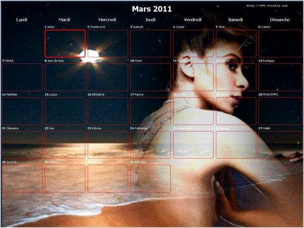 julie  calendrier du  mois de mars