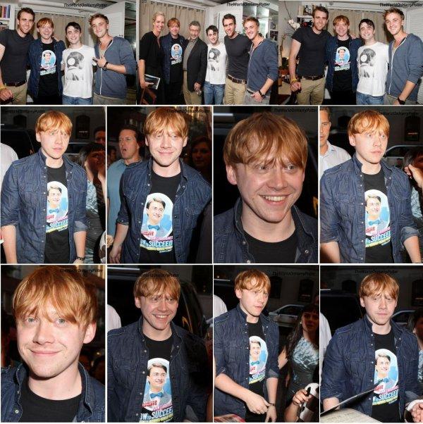 19/07/11 : Le 9 Juillet dernier, Rupert, en compagnie de Matthew Lewis et Tom Felton, sont allés applaudir leur co-star, Daniel Radcliffe.