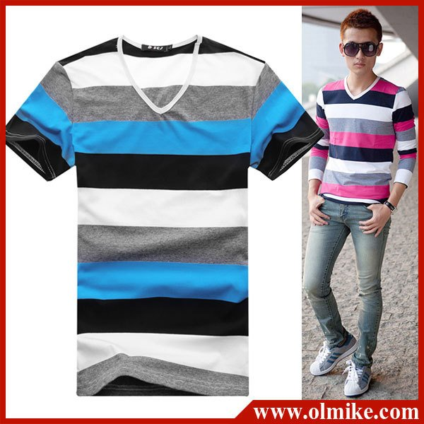 chemises pour garçons à manches courtes bandes concise homme