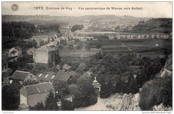 1673-Environs de Huy-Vue panoramique de Wanze,vers Antheit.