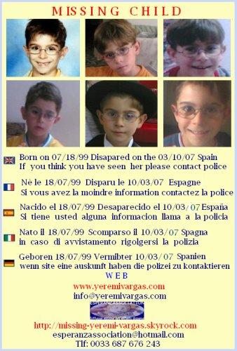 MISSING CHILD  YEREMI VARGAS  SPAIN