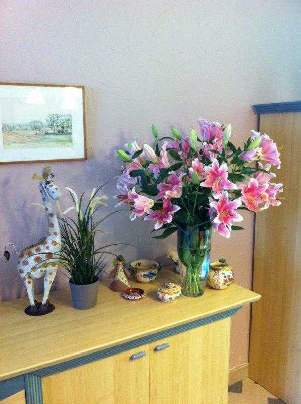 petit montage floral réalisé par mon épouse