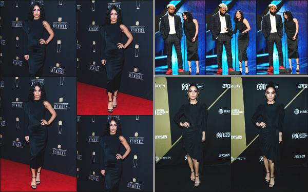 - 02.02.19 ─ La belle Vanessa Hudgens était présente à la 8ème édition « NFL Honors » au FOX Theatre à Atlanta ![/s#00000ize]Vanessa à été prise en photo sur le tapis rouge, ainsi que sur scène, peu de temps après, dans un sublime robe noire qui lui va à la perfection ! Beau top -