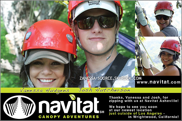 "22/05/11:            Vanessa et son boyfriend ""Mosh"" Hutcherson (--') au navitat canopy adventures à Asheville (CN)."