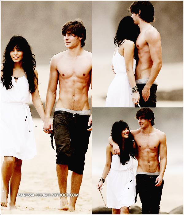 REMEMBER:  26/10/08:            Zac et Vanessa en amoureux sur une plage d'Hawaï.   Sont-ils pas mignooon ?  $)