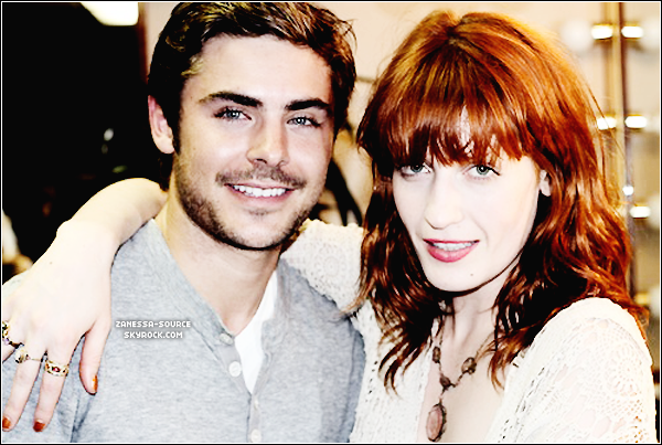 14/06/11:            Zac posant avec la chanteuse du groupe de rock Florence and the Machine  $).