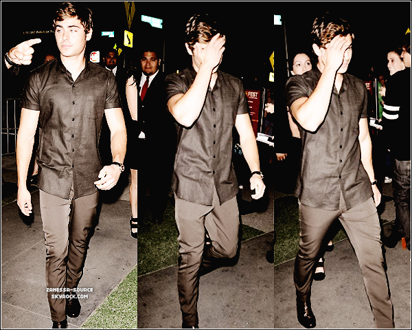 "20/06/11:            Zac arrivant à la présentation du film ""the devil's double"" au LA film festival."
