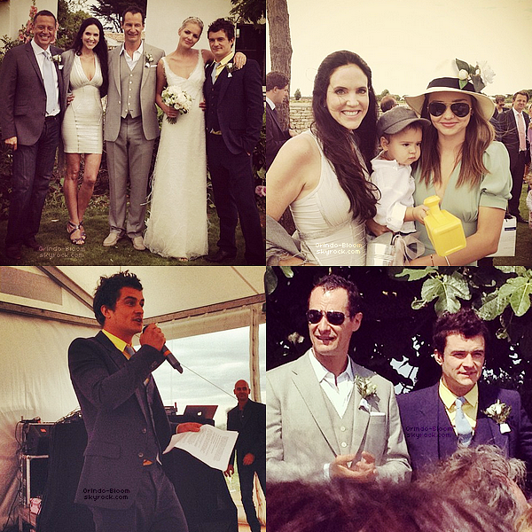 Orlando, Miranda et Flynn étaient présents au mariage du cousin de Orlando, Sebastian Copeland, en France ! J'adore comment Orlando est habillé !